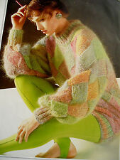 """#82 Ladies Mohair Entrelac Sweater 34"""" Finished Size 41"""" Vintag Knitting Pattern"""