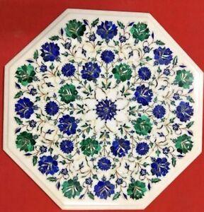 "18 "" Marmor Table Top Pietra Dura Blumenmuster Handgefertigt Marquetry Arbeit"