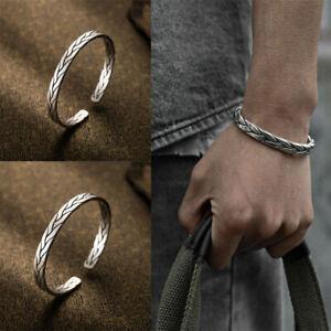 925 Sterling Silver Thai Handmade Men Vintage Open Bangle Twisted Cuff Bracelet