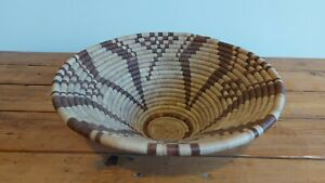 Vintage Round Woven Wicker Rattan Fruit Tray Bowl Bread Serving Hanging Basket