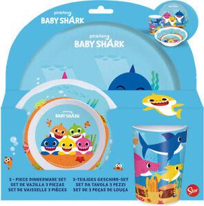 CHILDRENS TODDLER BABY SHARK 3 PIECE DINNER BREAKFAST SET PLATE BOWL TUMBLER