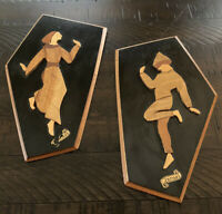 Vintage Israeli Olive Wood Plaque Dancing Man & Woman Wall Hangings