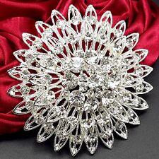 Wholesale Big 6.6cm Silver Alloy Crystal Brooch Pin Women DIY Wedding Bouquet