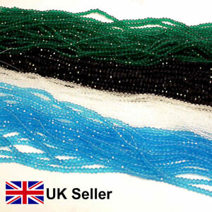 3 strings glass crystal drilled beads, green, blue, black, clear, 2,3,4 mm