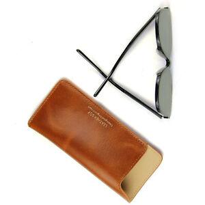 Leather Eyeglass Pouch Slim Travel Slip In Sunglasses Case Holder Eyewear Sleeve