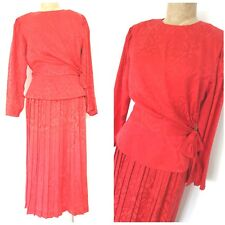 Vintage 80s Silk Red Pleated Dress Size Medium Peplum Side Tie Cocktail Party
