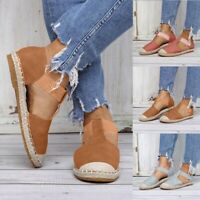 Women Ladies Fashion Retro Low Flat Sandals Round Toe Elastic Casual Shoes Size