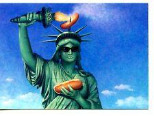 Statue of Liberty Cooks Hot Dog w/ Torch-Sunglasses-Funny Comic Modern Postcard