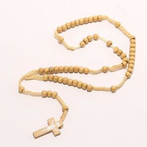 Wooden Catholic Rosary Cross Necklace Prayer.9mm Beads.Jesus.Wood/Crucifix.25 in