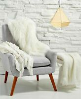 Luxury Faux Fur Throw Blanket Gift New White Long Pile RRP £150 CLEARANCE Vegan