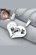 Stainless Steel Couples 2 Pc I Love You Heart Necklace
