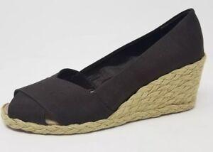 Lauren Ralph Lauren Cecilia Women's Peep-Toe Espadrille Wedge Sandal Brown Size6