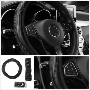 1Pcs Black PU Leather Steering Wheel Cover 38CM Wearproof Universal Fit For Car