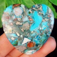 Heart Pendant Bead H04060 40x40x6mm Blue Sea Sediment Jasper
