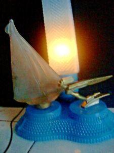 NUDE LADY / SAILBOAT LAMP 1940's art deco / nouveau  BLUE SKYSCRAPER GLASS SHADE