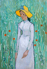 Girl in White, Vincent Van Gogh, 1890, Art Poster, Museum Canvas Print