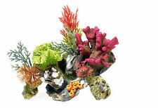 Coral on Rocks with Plants Aquarium Ornament Colourful Fish Tank Decoration