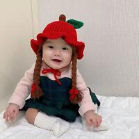 Baby Girls Braided Wig Woolen Yarn Knitted Hat Winter Warm Cap Photography Prop