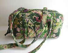 """VERA BRADLEY Quilted Green Paisley Floral Duffle Dbl Handle Bag Purse 5""""x10""""x5"""""""