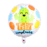 Spanish Happy Birthday foil Balloons Cartoon Cactus for Birthday Party Decor JF