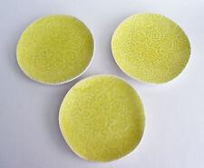 Artistic Accents Yellow Lemon Stoneware Crackled Glass Appetizer Plates Set 3