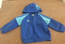 Boys Adidas Blue Zip Up Hooded Jacket Age 6-9 Months B10