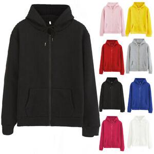 Womens Casual Zip Up Plain Hoodie Soild Hooded Oversized Sweatshirt Tops Outwear
