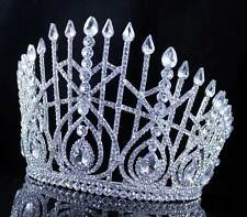 AB7003 BEAUTY QUEEN CRYSTAL RHINESTONE TIARA CROWN HAIR COMBS PAGEANT SILVER