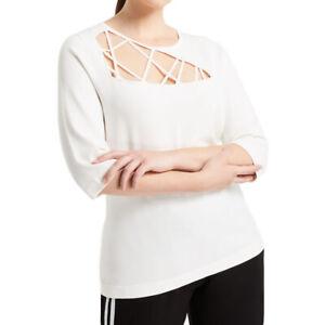 MARINA RINALDI Women's White Amore Cut Out Sweater $455 NWT