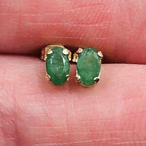 10K Yellow Gold 5X3mm Oval Emerald Stud Pierced Earrings Signed JCM