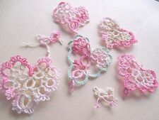 Tatted Hearts (5) Lacey Variegated Pink & Mint Valentines Tatting