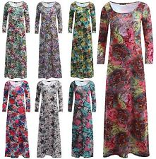 Viscose Floral Plus Size Round Neck Dresses for Women