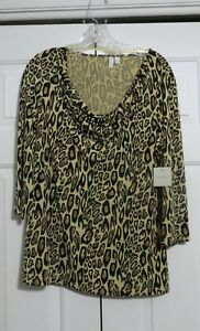 MADISON NEW YORK & COMPANY LADIES LEOPARD PRINT TOPS BLOUSE LARGE
