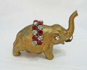 Vintage Celluloid Elephant Tape Measure Red Rhinestones