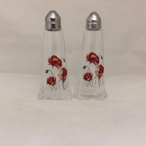 POPPY FLOWER DESIGNS PRINTED ON. GLASS  SALT & PEPPER SHACKER SET