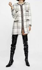 New Zara 2019 Tweed Wool White Plaid Coat Jacket w/ Stripes Jewel Sz M