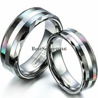 Comfort Fit Tungsten Carbide Ring Black Double Abalone Shell Inlay Wedding Band