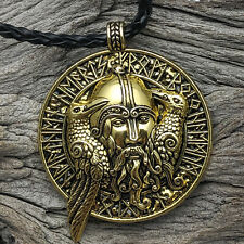 Antique Gold Tone Viking Odin's Ravens Pendant On Braided Black Cord Necklace