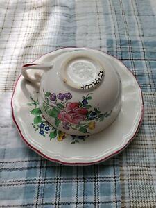 OLD STRASBOURG Floral Tea Cup SAUCER set by France Luneville