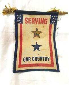 ANTIQUE ORIGINAL 1940's USA WW-2 FAMILY-MEMBER-IN-SERVICE FLAG