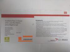 Freifahrt Flex 2. Klasse (Hin- und Rückfahrt) Deutsche Bahn Ticket Gutschein.
