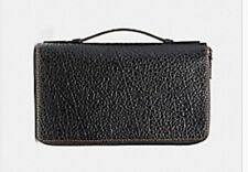NWT Authentic Coach Leather Men Double Zip Travel Organizer black Wallet F87104