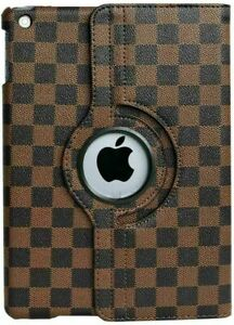 Apple iPad Mini 9.7 Brown White Gray Checkered Plaid Rotating Stand Cover Case