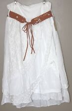 New Fashion Moda Italian Girl's Cotton Layered Embroidered Skirt with Belt, NWT