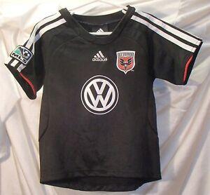 DC United adidas Black Soccer Jersey Kids Size 4T Volkswagen Logo Shirt