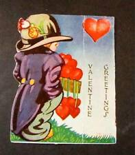 Vintage 1930's Valentine Card Stand Up Style Tuxedo Boy w/ Box Of Hearts Germany