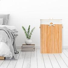 Square Bamboo Hamper Laundry Basket Washing Cloth Storage Bin Bag W/ Lid Natural