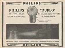 Z1649 Lampade per auto PHILIPS-DUPLO - Pubblicità d'epoca - 1930 Old advertising