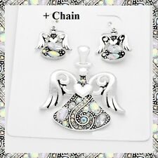 """AB Crystal Heart Wings Angel Pendant Earrings Set Necklace With 23"""" Chain"""
