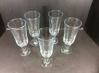 BEAUTIFUL VINTAGE SET OF 5 ELEGANT TALL GLASS GOBLETS